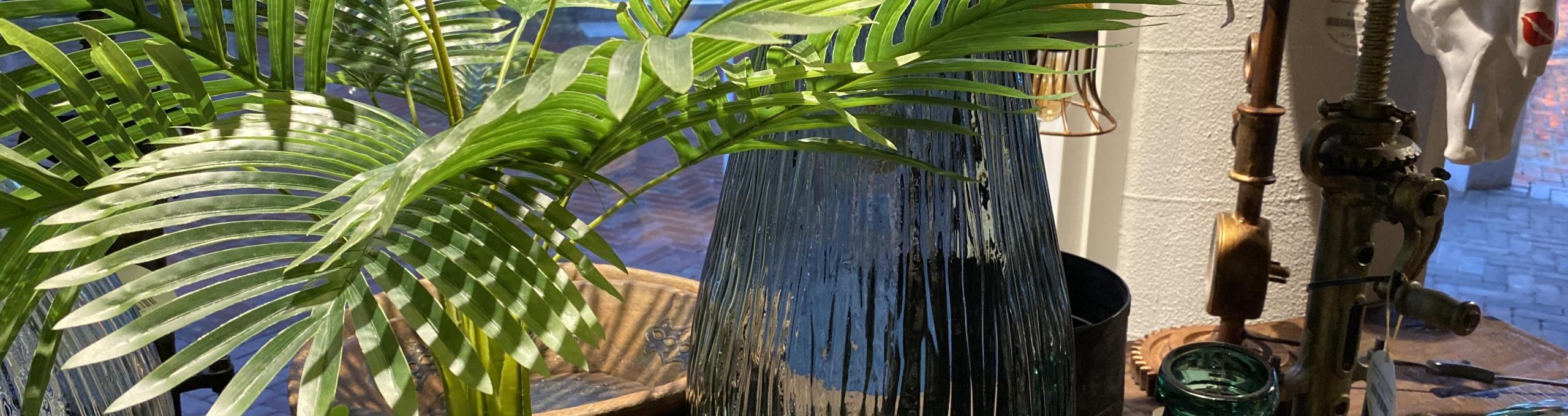 mooi glaswerk, vazen, glas, groen, planten, indistrieel
