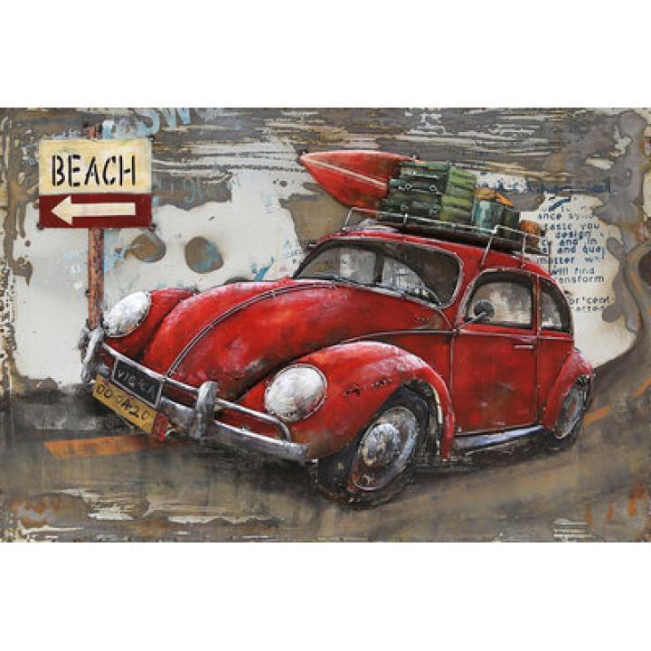 3d metaal schilderij rode vw kever surfplank strand Middelburg Indistrieel winkel.jpg