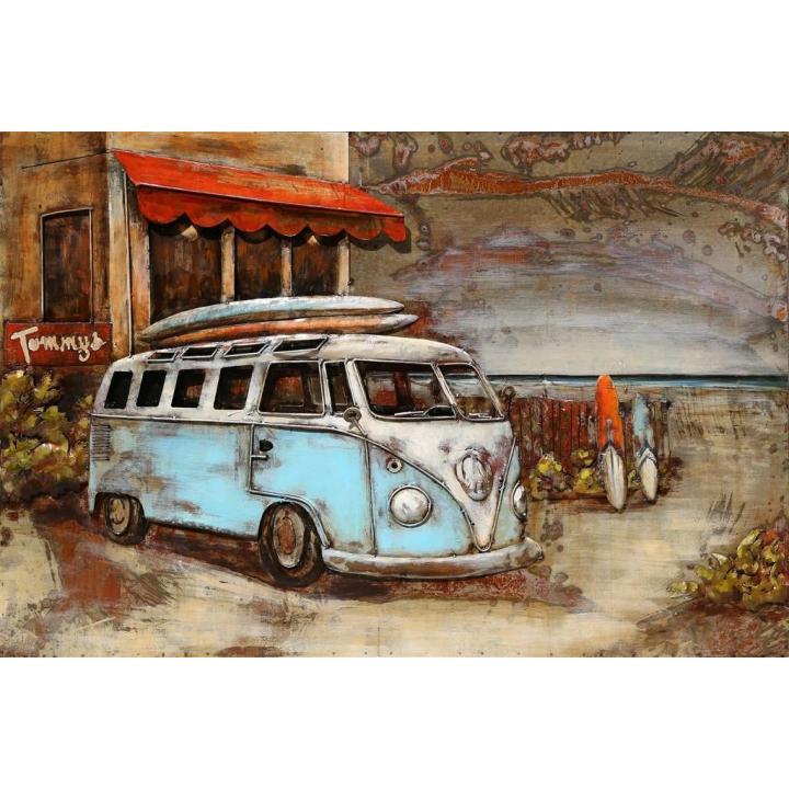 3d metaal schilderij surfbus vw bus blauw surfen in Zeeland Middelburg Indistrieel winkel.jpg
