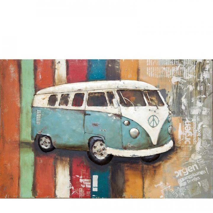 3d metaal schilderij vw bus lichtblauw stoer voor aan de muur kopen in Middelburg bij Indistrieel winkel in Middelburg.jpg