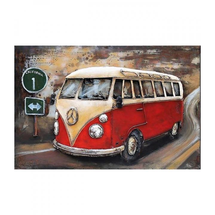 3d metaal schilderij vw bus rood volkswagen busje  stoer voor aan de muur kopen in Middelburg bij Indistrieel winkel in Middelburg.jpg
