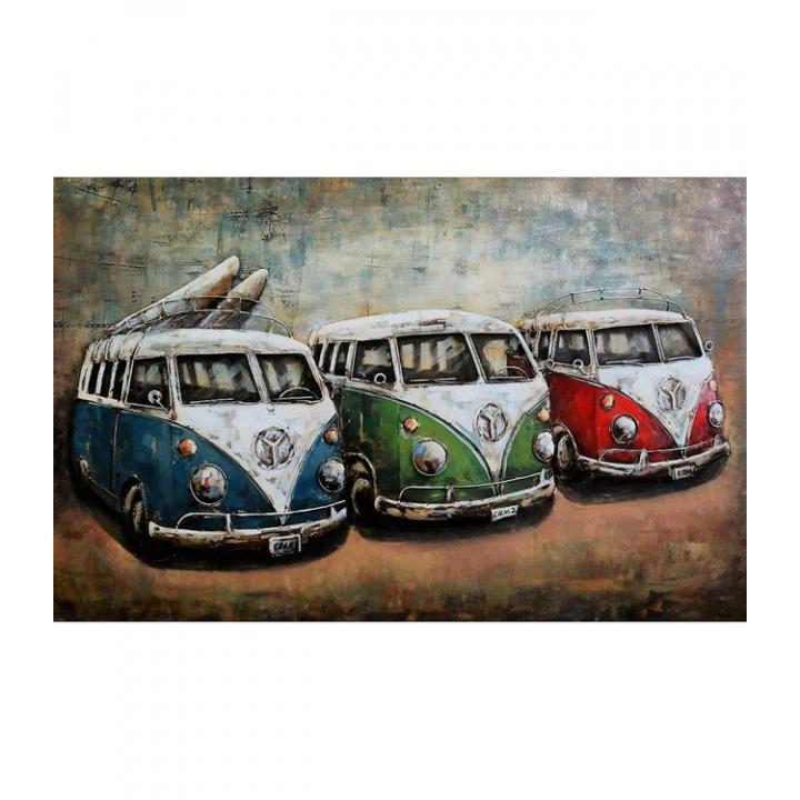 3d metaal schilderij vw bus volkswagen bus rood groen blauw 3 busjes  stoer voor aan de muur kopen in Middelburg bij Indistrieel winkel in Middelburg.jpg