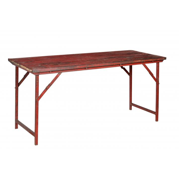 Market_ table_ iron_ legs_red