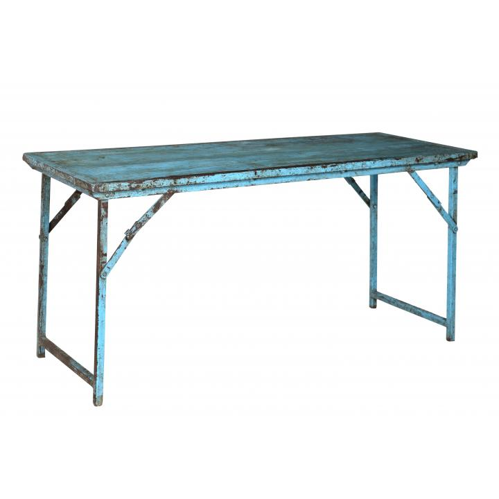 Market_table_ iron_ legs_ blue_ India