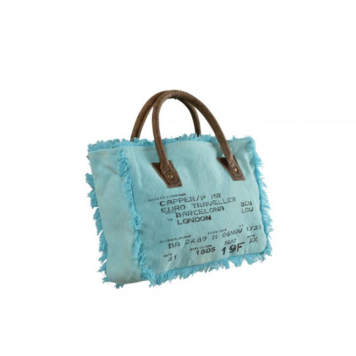 handbag aqua label Indistrieel € 25,--