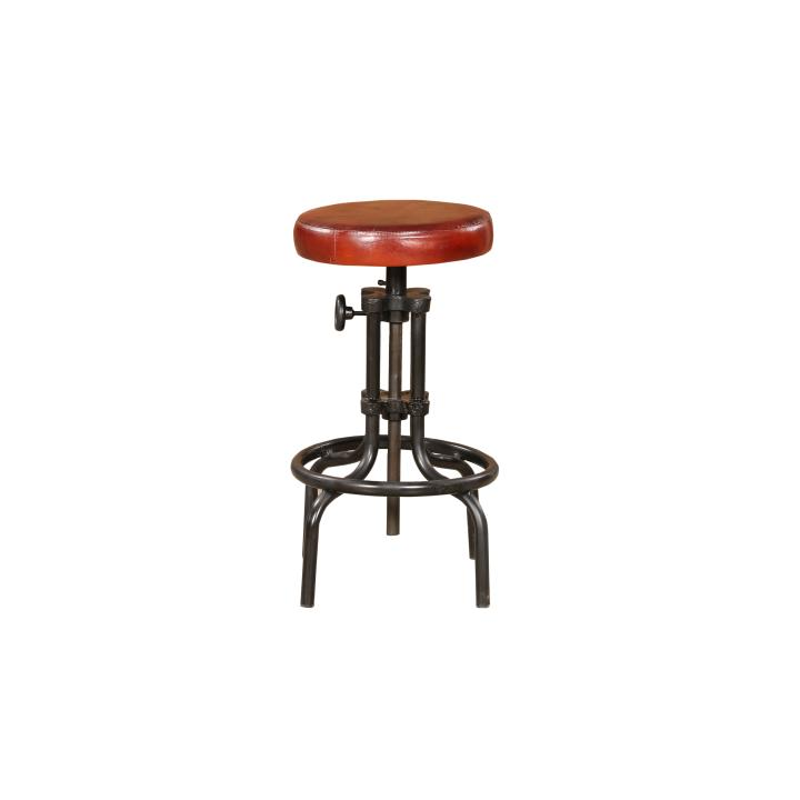 Stool cast iron leather top adjustable