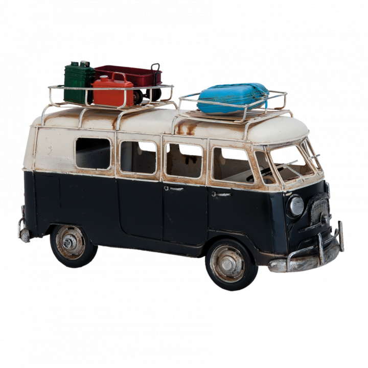 Travelling vw bus black zwart wit white with suitcases