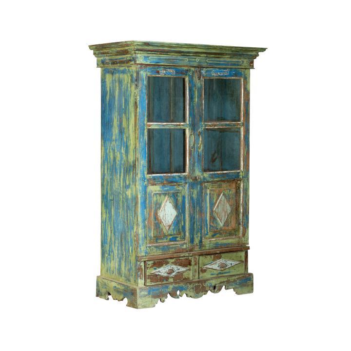 Cabinet kast blue green blauw groen deuren en raampjes uniek uit India te koop bij Indistrieel in Middelburg
