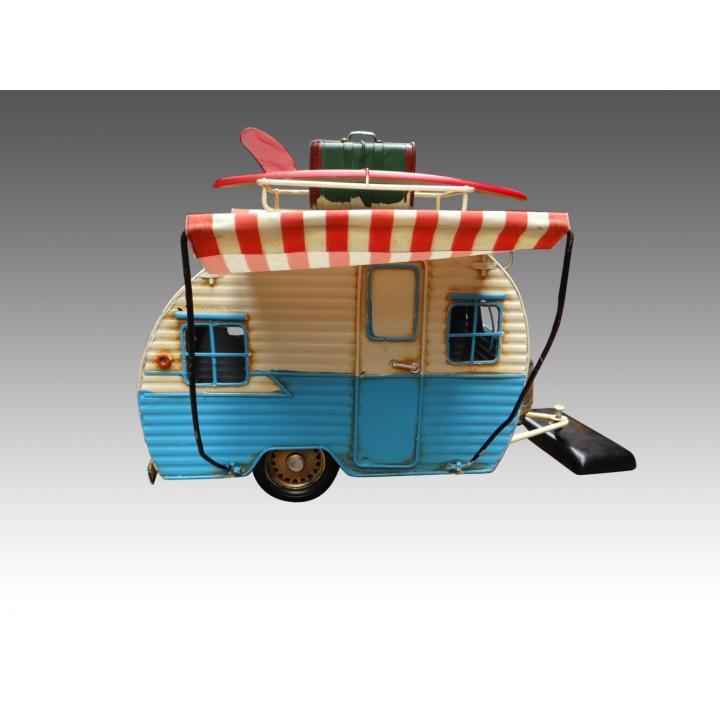 caravan model blauw blue white