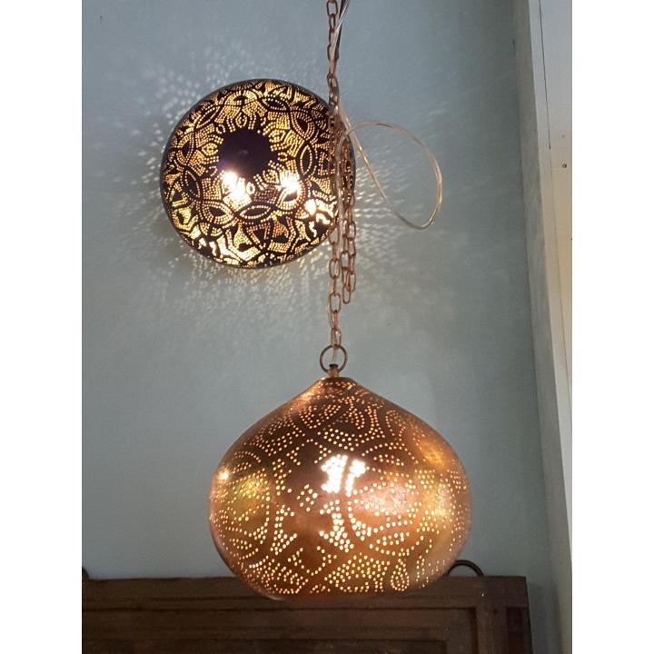 hanglamp filigrain vintage koper ovaal vorm
