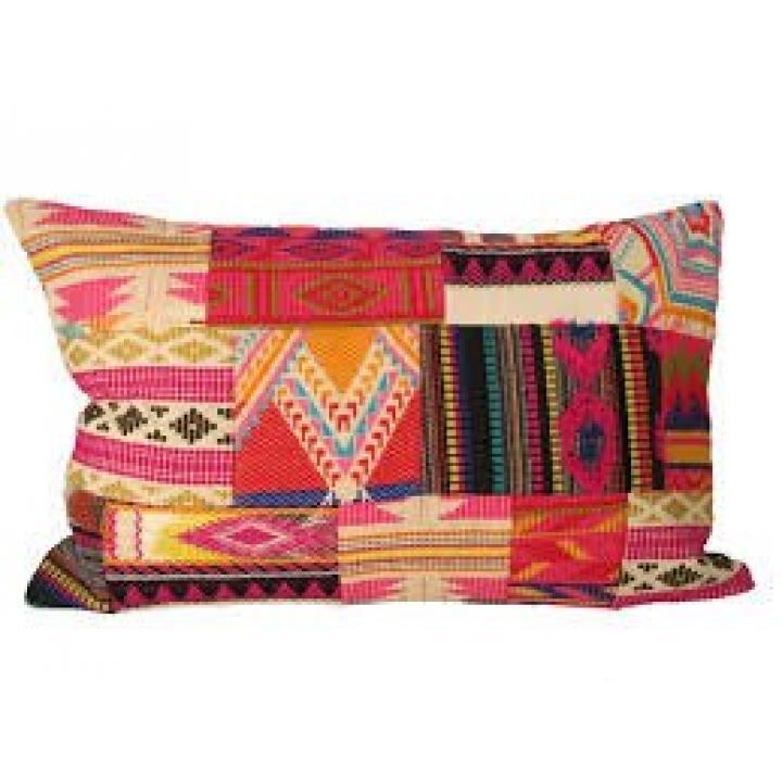 kussen patchwork boho langwerpig pink pillow boho pink Indistrieel