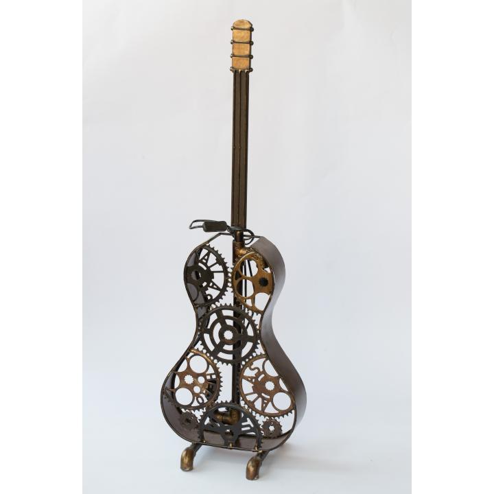 Floor lamp recycled new made guitar vloerlamp gitaar Indistrieel steampunk