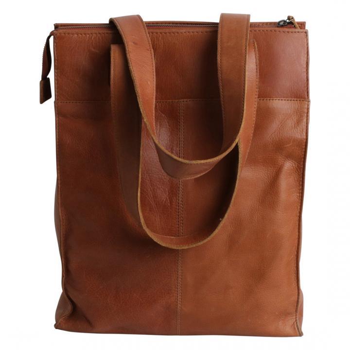 leather junky tas shopper cognac kleur