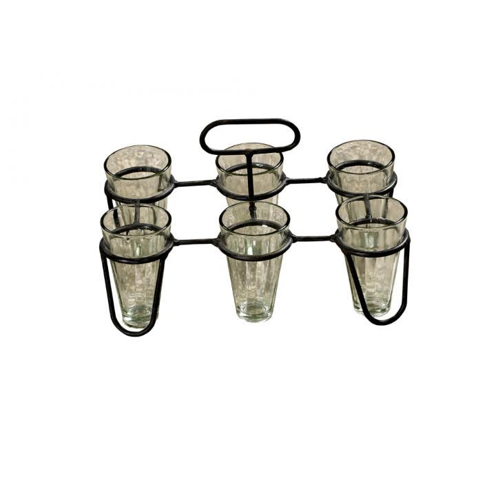 metal tray chai glasses India.