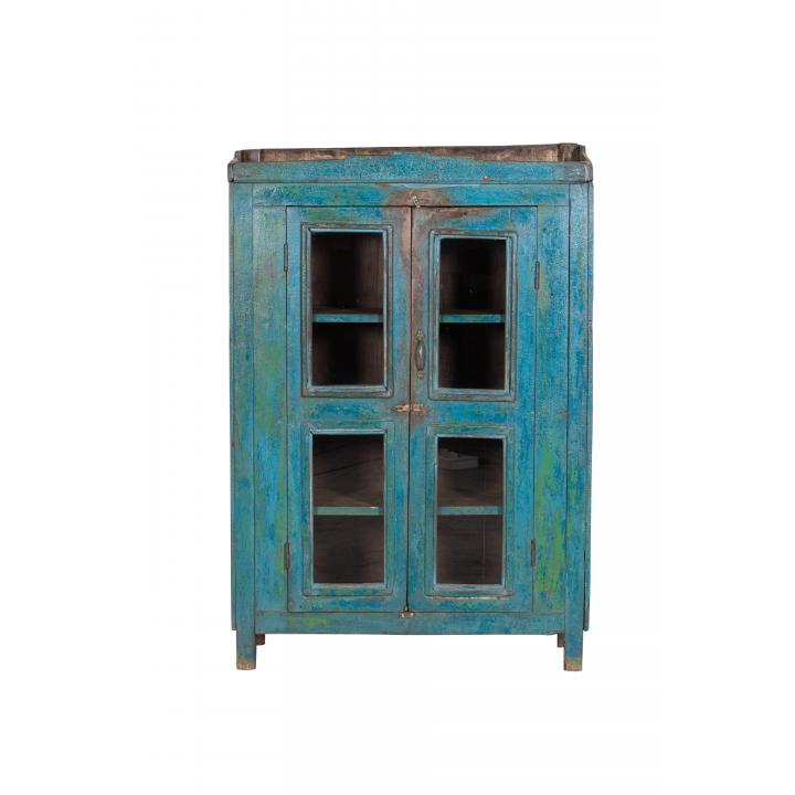 original blue cabinet 4 windows 2 doors