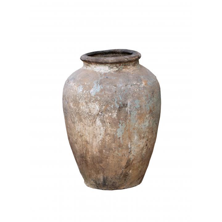 original large terracotta clay pot India originele oude vaas waar graan in werd bewaard India