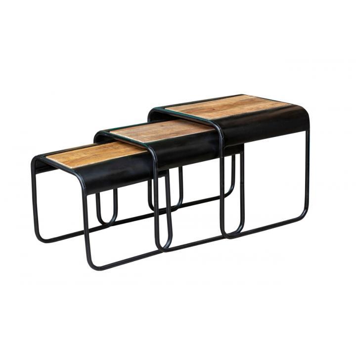set of 3 coffee tables iron wood set van 3 bijzet tafeltjes metaal en hout te koop in Middelburg bij Indistrieel