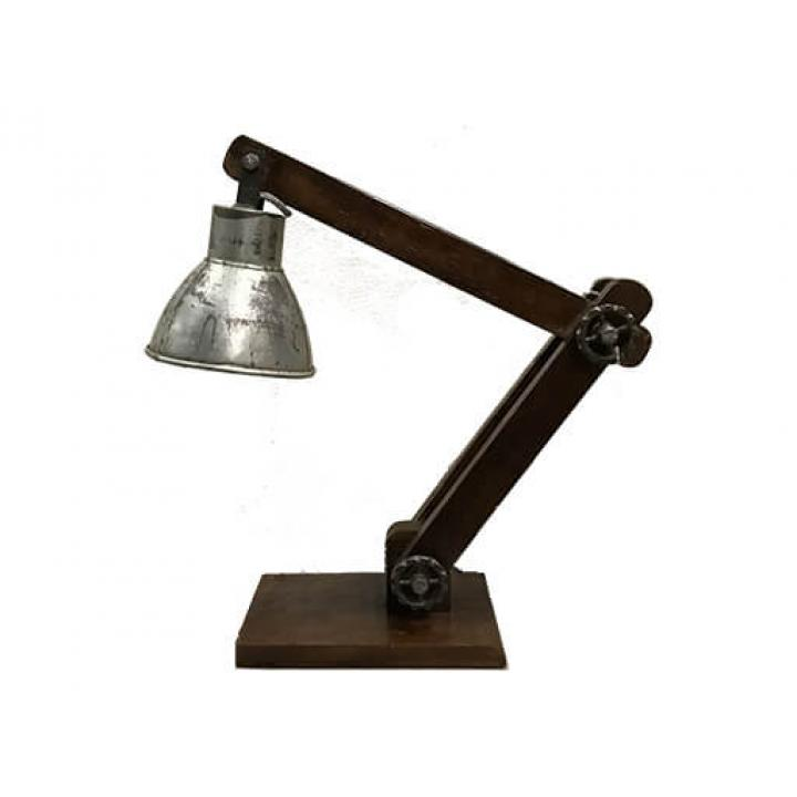 tafellamp, hout, metalen kap, verstelbaar