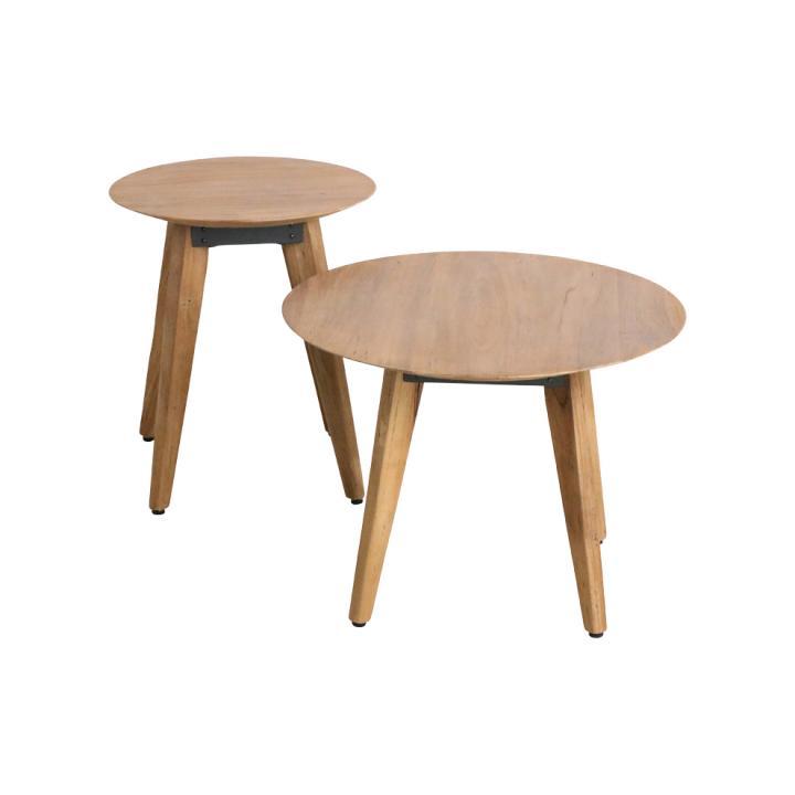 Craftsman bijzettafel  rond  hout. one world interiors Indistrieel